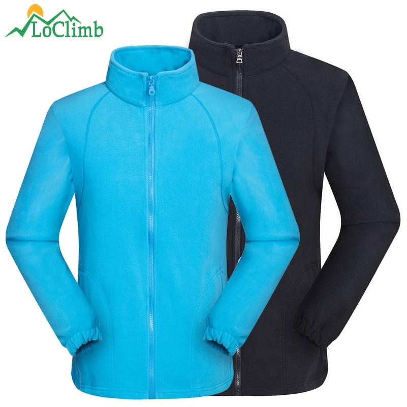 LoClimb Men Women's Outdoor Sport Polar Fleece Jacket Winter Warm Heated Ski Coat Trekking Camping Hiking Jackets Clothing AM132