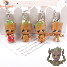 20Pcs Wholesale Guardians Galaxy Large PVC Key Chains High Quality Avengers Tree Man Keyring For Men Car Women Bag Accessories