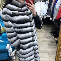 FURSARCAR 2019 Fashion New Design Luxury Winter Real Rex Rabbit Fur For Women Coat 120cm Long Natural Fur Jacket With Fur Collar