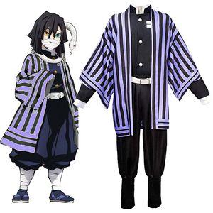 Image 3 - Anime Demon Slayer: Kimetsu no Yaiba Iguro Obanai Cosplay Costume Men Party Suit Full set with Wig Shoes Clog
