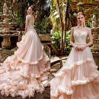 Blush Pink Prom Dresses 2020 V Neck Applique Evening Gowns Tiered Ruffles Long Formal Party Runway Fashion Dress