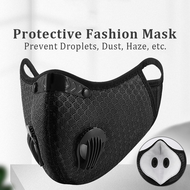 Hango Reusable Face Mask Protective PM2.5 Cycling Tactical Sports Mask with Filter Washable Fabric Masks Men Face Cover Shield 2