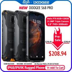 Ip68 impermeável doogee s68 pro robusto telefone helio p70 octa núcleo 6 gb 128 gb carga sem fio nfc 6300 mah 12v2a carga 5.9 polegada fhd +