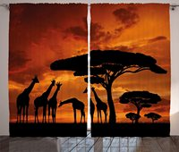 Africa Window Curtains Safari Animal with Giraffe Crew with Majestic Tree at Sunrise in Kenya Living Room Decor Bedroom Orange