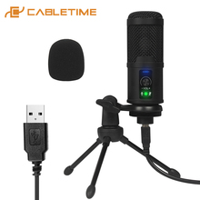 CABLETIME USB Microphone Mute Button Mic  Professional Speaker for Game Live Recording Studio Laptop Youtube Skype Speech C385