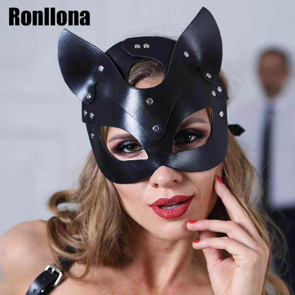 Ronllona Leather Mask Handmade Punk Party Mask Gothic Leather Strap Sexy Adjustable Erotic Masquerade Belt Couple Night