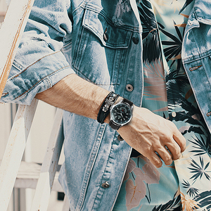 Image 4 - Vencedor oficial militar esportes relógio masculino automático mecânico sub mostradores calendário pulseira de couro dos homens relógios marca superior luxo