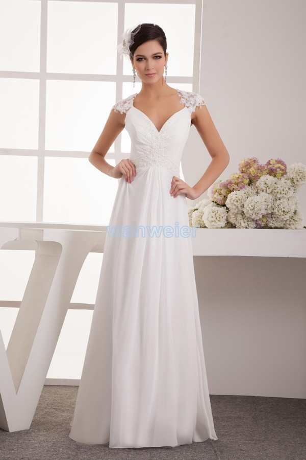 Free Shipping 2014 New Design Hot Sale Beach Cap Sleeve Fashion Bridal Gown V-neck Custom Size/color Long White Bridesmaid Dress