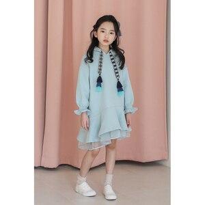 Image 5 - Детское платье с длинными рукавами для девочек весенне осенние толстовки с капюшоном, платья свитеры хлопковая однотонная свободная одежда для подростков 10 12 лет, Новинка
