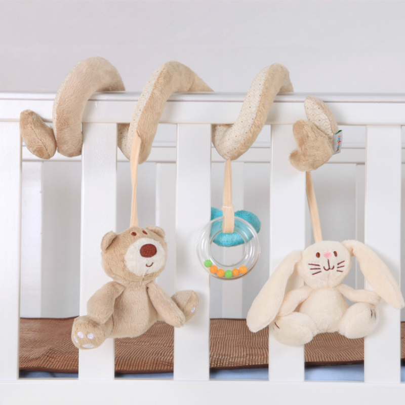 Baby Comforts Teddy Bear And Rabbit Plush Bed Toy Hangs Baby Plush Dolls Around The Bed For Newborn Baby WJ603