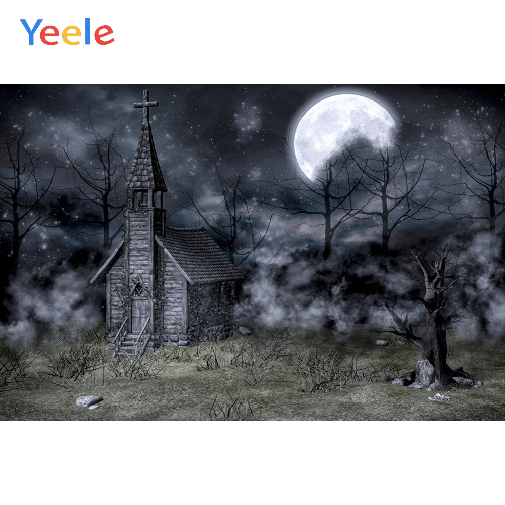 Yeele Happy Halloween Backdrop Mysterious Forest House Branch Moon Customized Vinyl Photography Backgrounds For Photo Studio in Background from Consumer Electronics