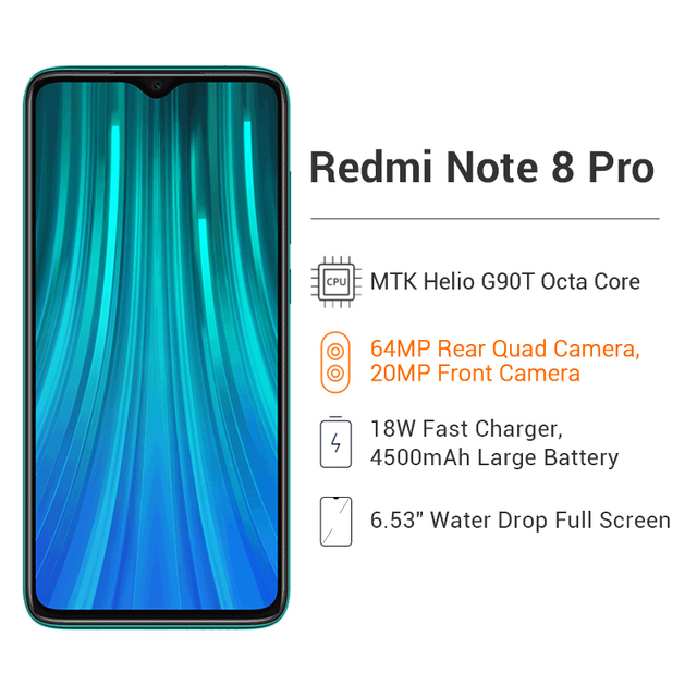 Global Version Xiaomi Redmi Note 8 Pro 6GB 128GB / 64GB 64MP Four Camera Smartphone NFC 4500mAh Helio G90T Octa Core Cellphone 2