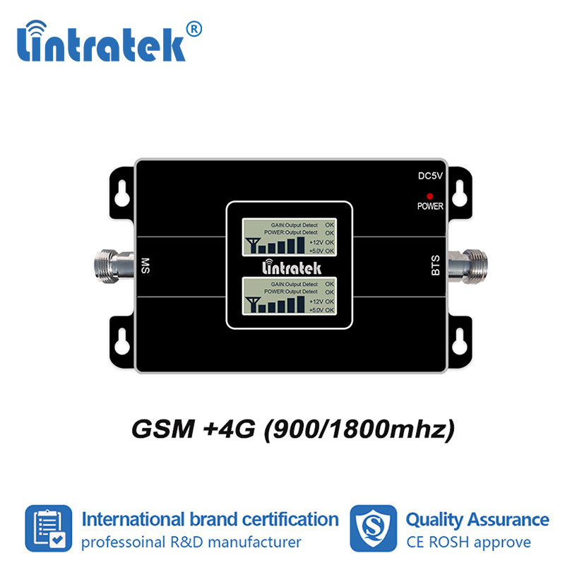 Lintratek 2G 4G 900 1800mhz Double Band Signal Booster LCD Display GSM 900mhz LTE DCS Data