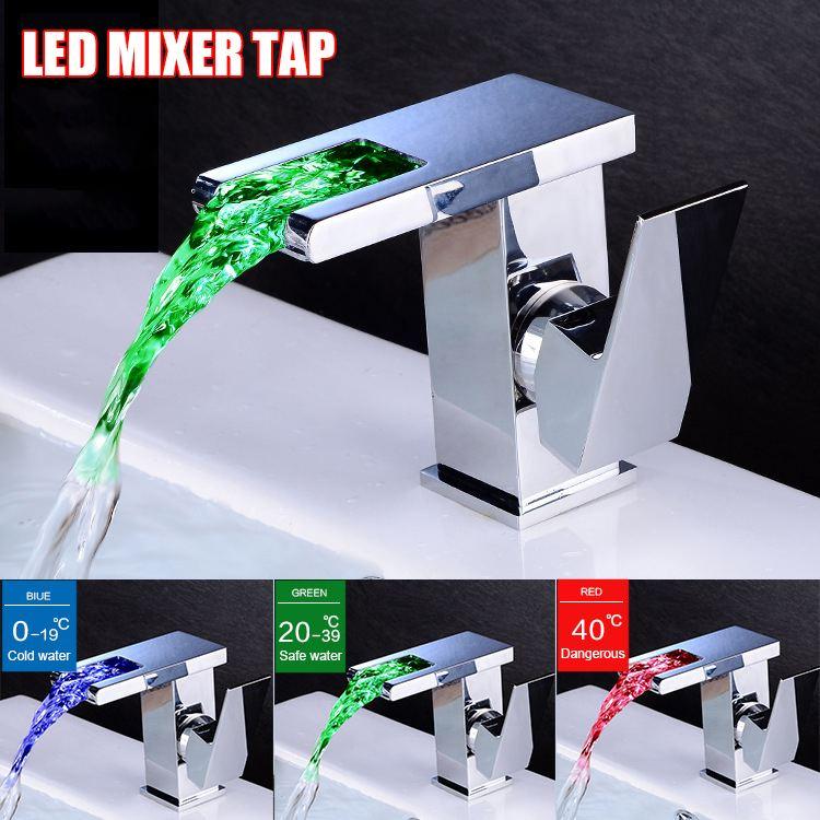 Cascade LED salle de bain bassin évier robinet large en laiton mitigeur mitigeur cuisine salle de bain baignoire évier robinet d'eau