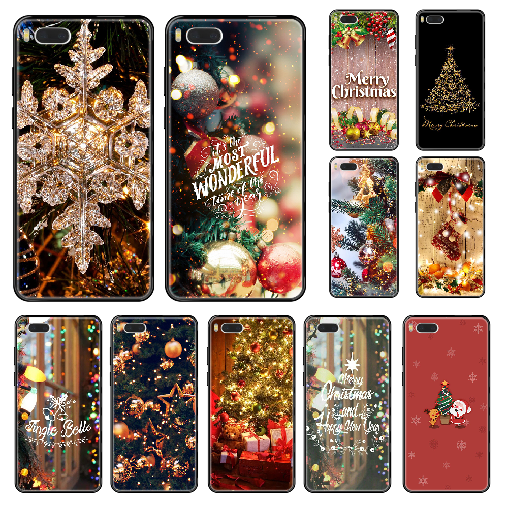 Marry Christmas New Year Phone case For Xiaomi Mi 6 8 9 A1 2 3 Mix3 Mix2 Mix2S X T Lite Pro black 3D hoesjes silicone cell cover