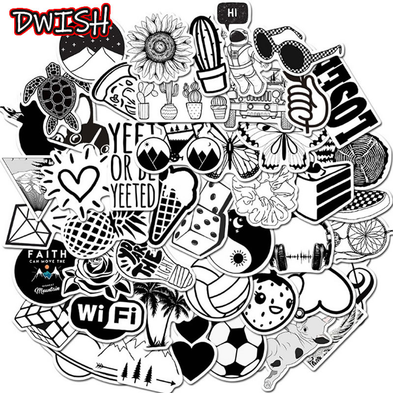 Fashion Cool Black And White Graffiti Children Waterproof Stickers Skateboard Suitcase Guitar Scrapbooking Kid Funny Sticker Toy