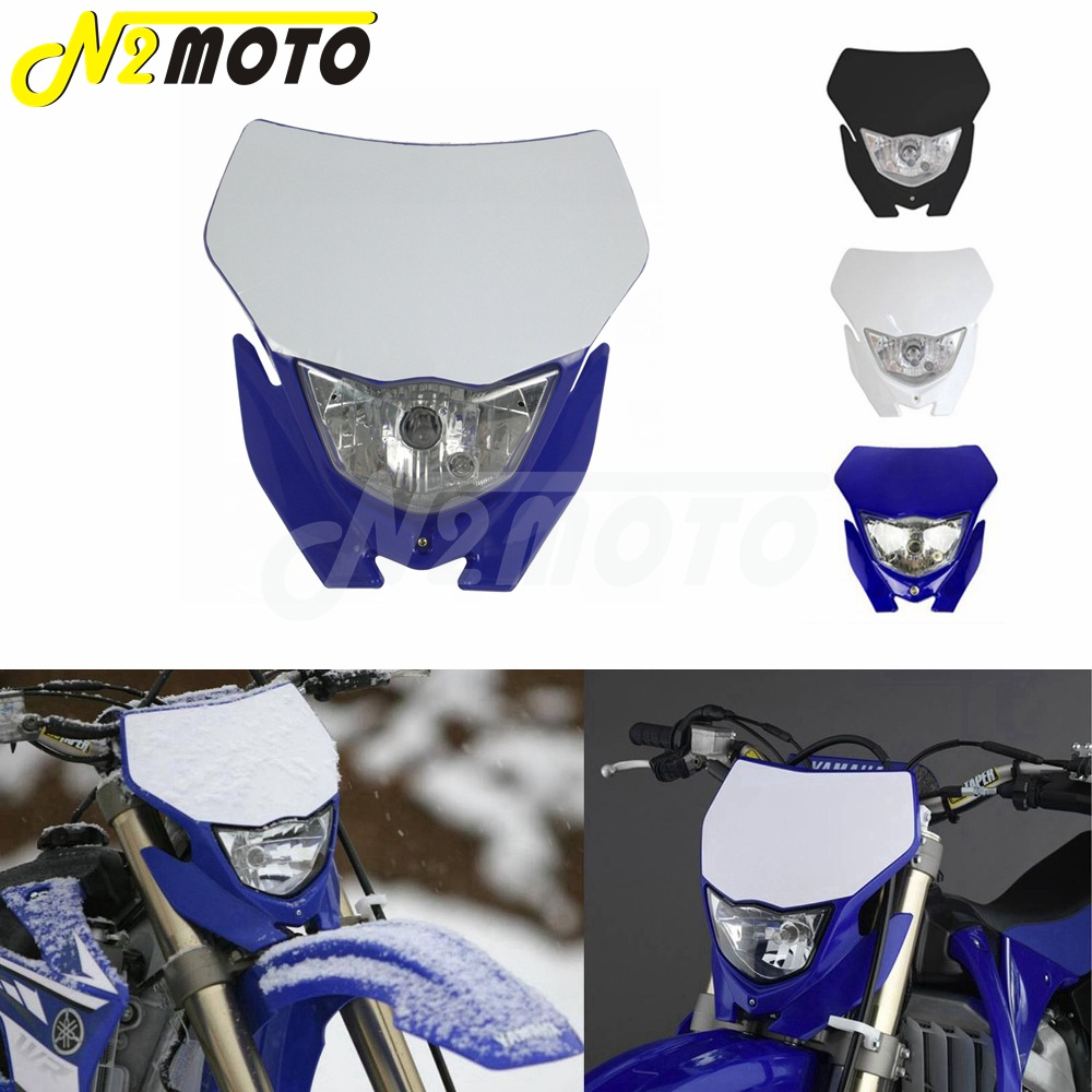 Motocross Headlight White H4 12V 35W Dual Sport Kit For Yamaha WRF250 400 426 450 YZ TTR WR XT MX Enduro Dirt Bike Head Light