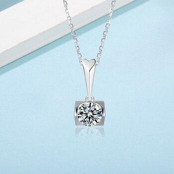 925 Sterling Silver 1 Ct D Color Moissanite Pendant Necklace Classic Excellent Cut Diamond Moissanite Necklace for Women Party