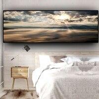 Закатом натуральный Coast Ocean пляжный морской пейзаж панорама Холст Плакаты с живописью и репродукции, настенное искусство картина для Гостин...