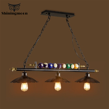 Industrial Retro Pendant Lights Loft Bar Billiards Creative Pendant Lamp Iron Cafe Deco Modern Restaurant Hanging Lamp Luminaria scandinavian pendant lights industrial naked pupa personalized creative restaurant cafe bar stairs retro industry pendant lamps