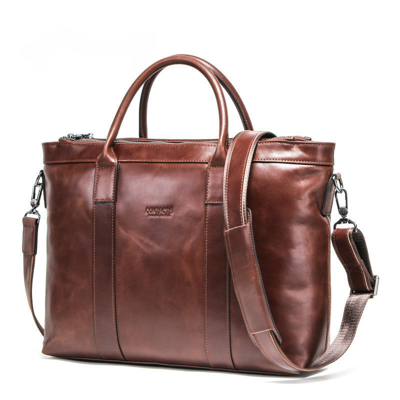 2020 Genuine Mens Leather Laptop Men Messenger Bags Shoulder Retro Man Business Affairs Briefcase 14 Inch Computer Male Package