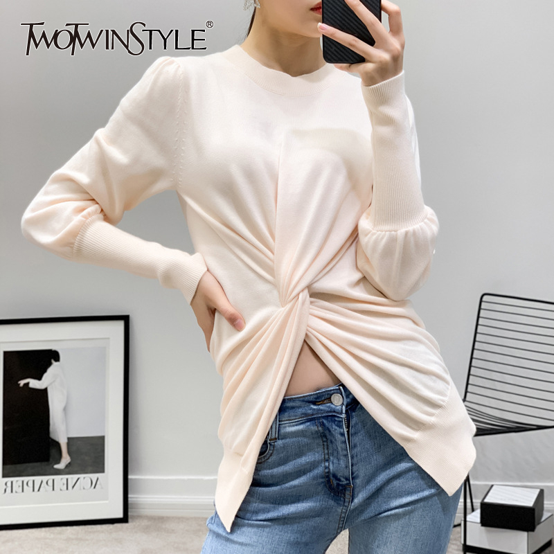 TWOTWINSTYLE Knitting Pullover Tops Female O Neck Lantern Sleeve Waist Cross Sweater For Women Casual Fashion 2020 Spring New