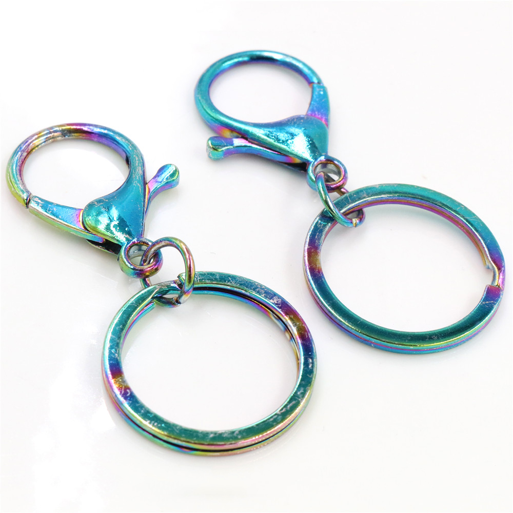 5pcs/lot 30mm Key Ring Long 70mm Popular Aurora Colors Plated Lobster Clasp Key Hook Chain Jewelry Making For Keychain