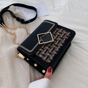 Image 1 - 여성을위한 스크럽 가죽 직조 크로스 바디 가방 2021 가을 체인 숄더 간단한 가방 여성 체인 럭셔리 핸드백과 지갑