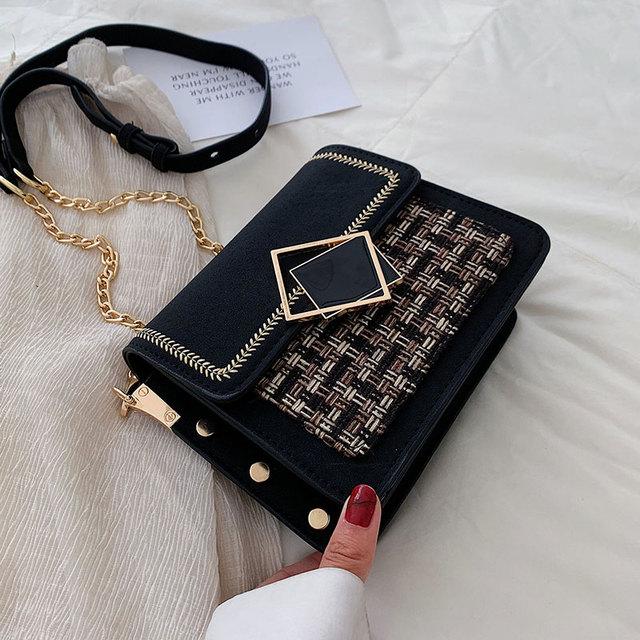 여성을위한 스크럽 가죽 직조 크로스 바디 가방 2021 가을 체인 숄더 간단한 가방 여성 체인 럭셔리 핸드백과 지갑