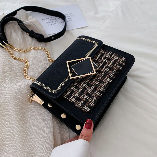 Scrub Leather Weave Crossbody Bags For Women Fall Chain Shoulder Messenger Bag Female Chain Luxury Handbags and Purses