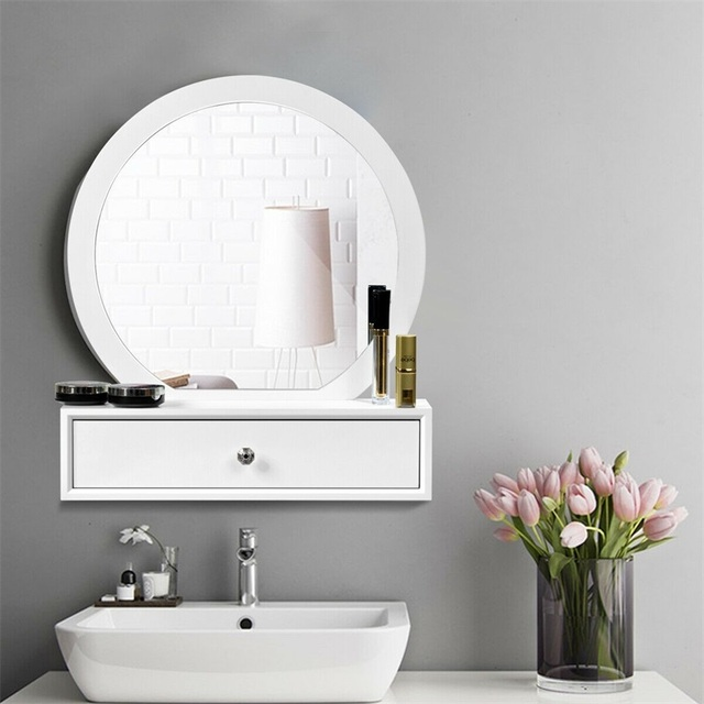 Bedroom Furniture White Makeup Dresser Table Dressing Wall Mounted Vanity Mirror with 2 Drawer HW65956 3