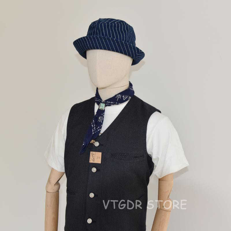 BOB DONG Vintage Wabash çizgili Indigo kova şapkalar iş giysisi demiryolu kapaklar Unisex