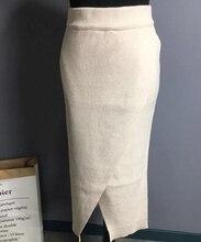Femme automne couleur unie épaississement tricot jupe taille haute fendu Midi chaud jupes Beige café tricot jupe
