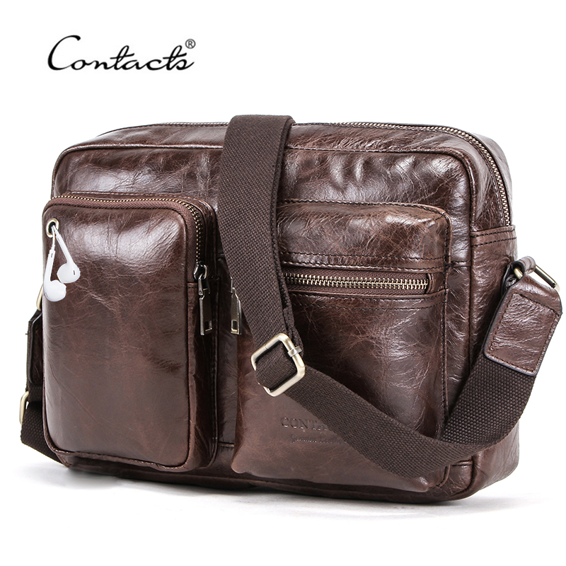 CONTACT'S Brand Men Bags 100% Genuine Leather Shoulder Messenger Bag For Man Vintage Casual Crossbody Bags With Earphone Pouch