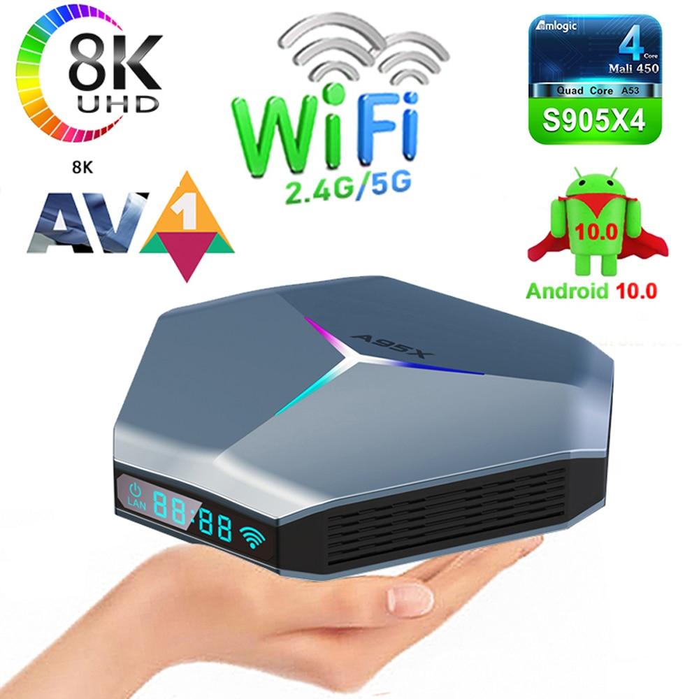 A95X F4 Amlogic S905X4 Smart TV Box Android 10 4K HD YouTube 5G Wifi RGB light 2021 High-performance super speed set-top box
