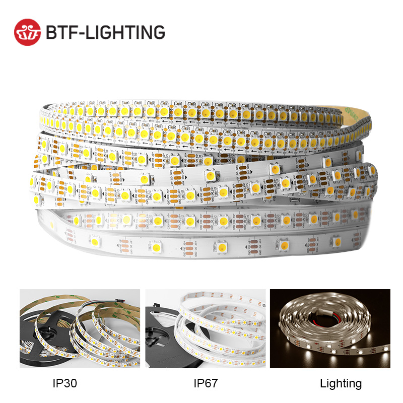 1m/4m/5m 30/60 Leds/m SK6812 WWA Pixel Led Strip Tape (Warm White+Cool White+Amber Color) Individual Addressable IP30/67 DC5V