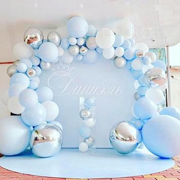 141 pcs DIY Balloon Arch Garland kit Blue Silver White Balloons for Bridal Baby Shower, Wedding, Birthday, Graduation Party 1