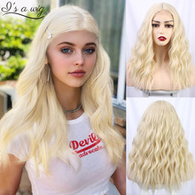 I's a wig Long Water Wave Synthetic Wigs 613 Blonde Wigs for Black/White Women Middle Part Small Area Lace Wigs for Daily Use