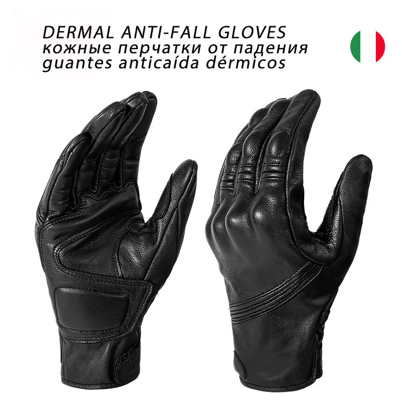 Genuine Leather motorcycle gloves screen touch breathable street motorbike gloves four season windproof ADV motocross gloves