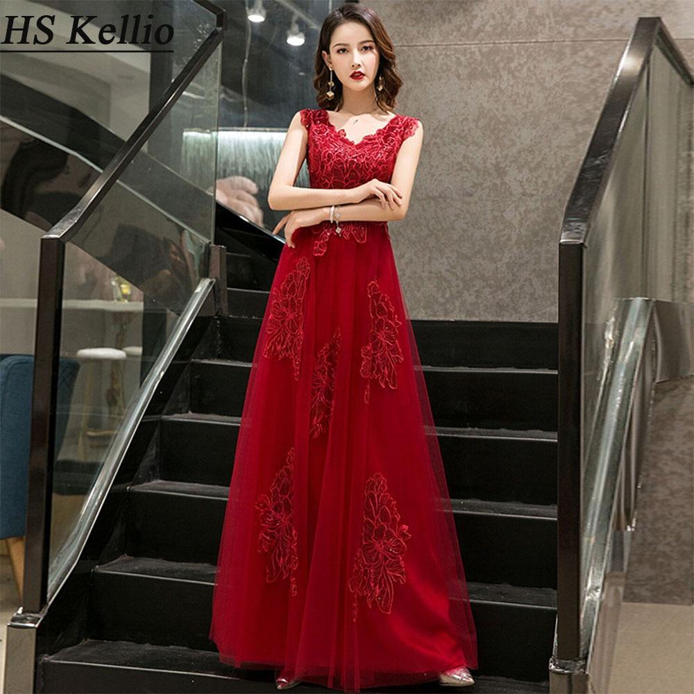 Bridesmaid     Dresses   Burgundy Lace Appliqued Long   Dress   Women Lace Up Back Aline