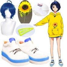 Maravilha ovo prioridade ai ohto cosplay sapatos meias perucas azul escuro curto grampo de cabelo triangular resistente ao calor peruca de festa de cabelo sintético