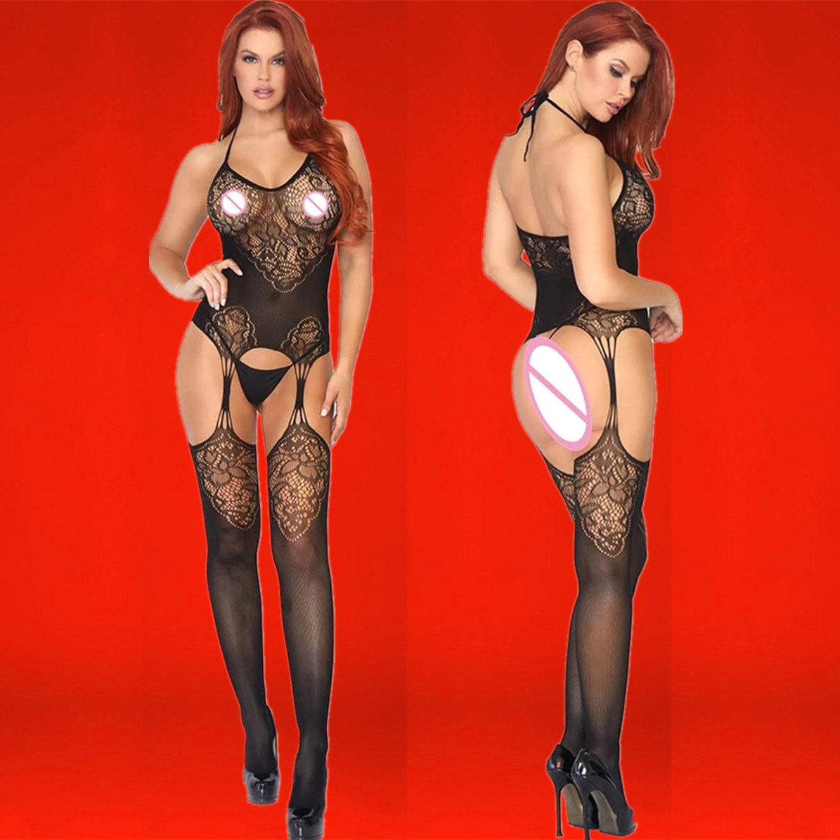 Черный, сексуальное дамское белье, сетка для волос вязаная перфорированный тепловой нижнее белье в сеточку, костюм кошки, нижнее белье в сет...