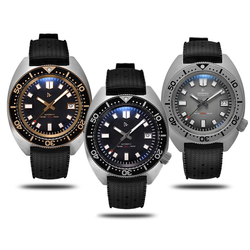 Fashion Tuna 6105/8000 Diving Watches Sapphire Crystal 200m Water Resistant Stainless Steel Automatic Retro Male Wrist Watch New