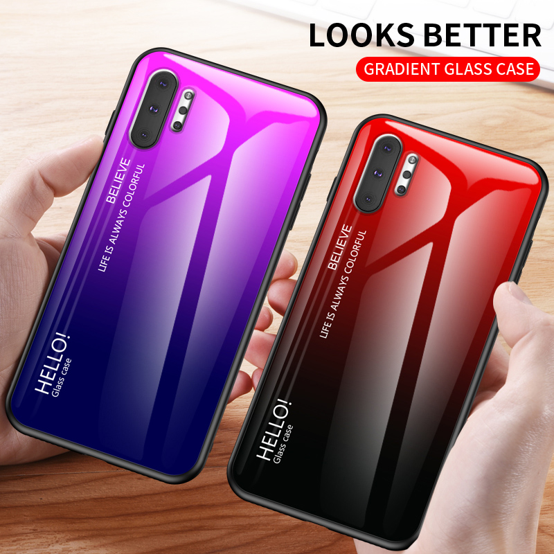 Gradient Phone Case for Galaxy Note 10 Pro 9 8 Tempered <font><b>Glass</b></font> Case for <font><b>Samsung</b></font> S10 5G S10e Lite S9 S8 Plus S7 Edge Back Cover image