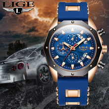 Relojes Hombre 2020LIGE Tops Fashion Mens Silicone Watch, With Top Brand Luxury Men Sport Quartz WristWatches Casual GoldWatch M