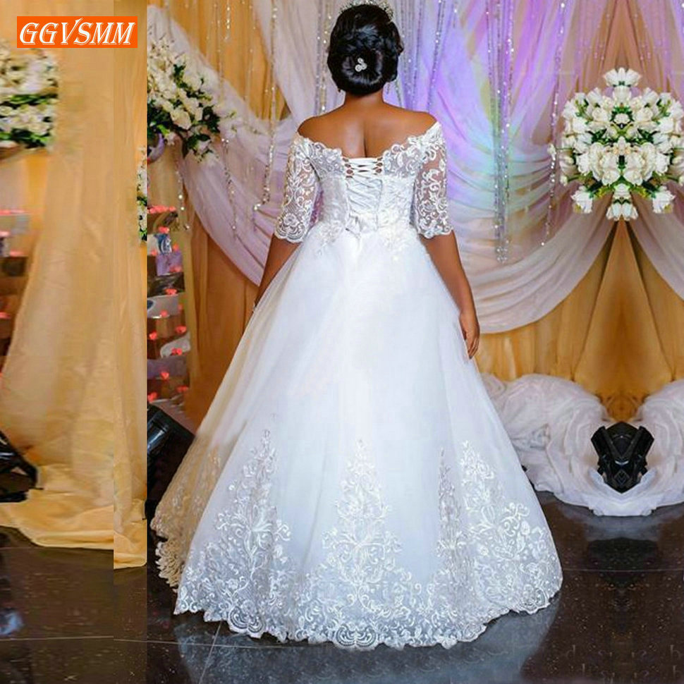 Wunderschöne Afrika Boot-ausschnitt Weiß Hochzeit Kleider Off