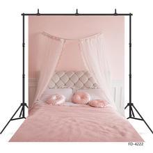 Rideau de lit chambre rose Fond photographique toile de Fond imprimée par ordinateur pour les amoureux saint valentin anniversaire Photocall Fond Photo