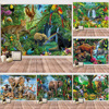Animal World Tapestry Fairyland Forest Psychedelic Rainbow Decor Wall Hanging Tapestry Funny Animals Bedroom Living Room Decor