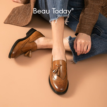 Shoes Brogues-Loafers Footwear Slip-On Autumn Women Genuine Calf Round Toe Beautoday
