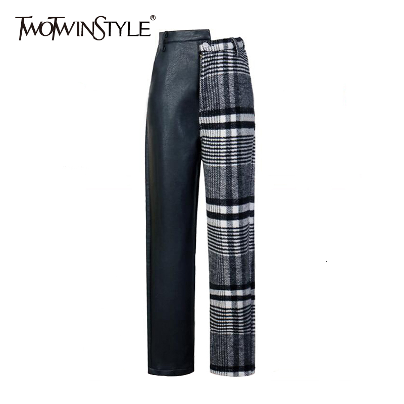 TWOTWINSTYLE Patchwork PU Plaid Trousers For Women High Waist Hit Colors Asymmetrical Patchwork Autumn Winter Pants Female Tide